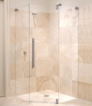 Frameless 135 degree shower screen